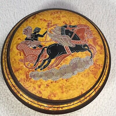 """Greek Chariot Pottery With Lid Replica Of Ancient Greece Made In Greece 4.5"""""""