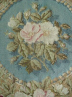 Antique French Aubusson Petit Point Roses Pillow Passenmenterie Plump #2 Rare