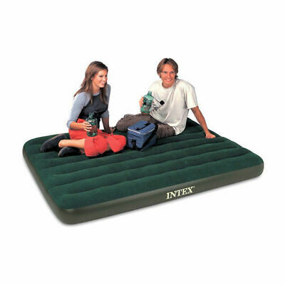 Intex Double Flocked Downy Air Bed Blow Up Guest Camping Bed Built In Pump