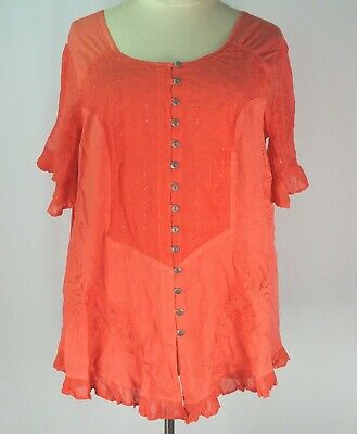 244ef3e6aee NEW Roaman s Tangerine Plus Size 22W 3X Blouse Top Embroidered Asymmetrical  Hem