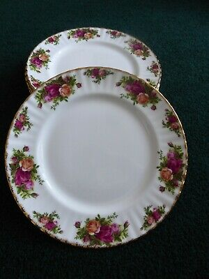 Royal Albert Old Country Roses, Excellent Porcelain Set of 8 Dinner Plates 10.5""