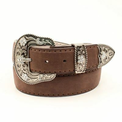 Ariat Women's Leather Belt with Antique Silver Buckle Set