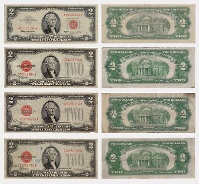 Lot of four $2 Bills - Mule Note, Red Seal - 3x1928D and 1x1963