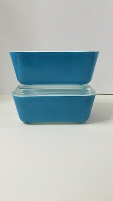 Pyrex Vintage Turquoise 2 Refrigerator Dishes #502 w/ 1 Lid #502C