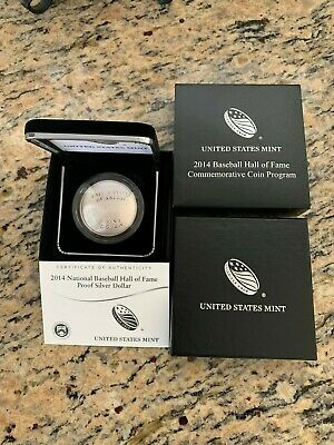 2014 $1 Proof Baseball Hall Of Fame Commemorative Silver Coin