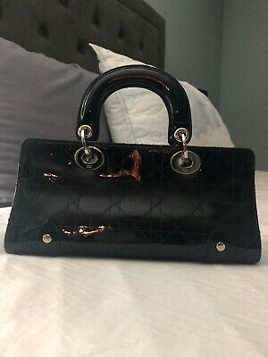 da6188a715e4 CHRISTIAN DIOR BLACK Leather Patent East West Cannage Lady Dior Bag ...