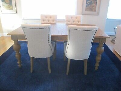4 Restoration Hardware Dining Side Chairs Beige Linen Upholstery