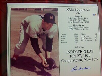 a5b44c18367 Lou Boudreau Red Sox Indians autographed signed HOF Induction Day 8x10 photo