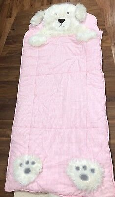 Pottery Barn Kids Shaggy PUPPY DOG Sleeping Nap Rest Time Bag Pink Gingham