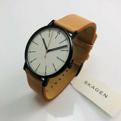 SKAGEN SIGNATURE SKW6352 40mm Black Ion Stainless Tan Leather Men's Quartz  Watch