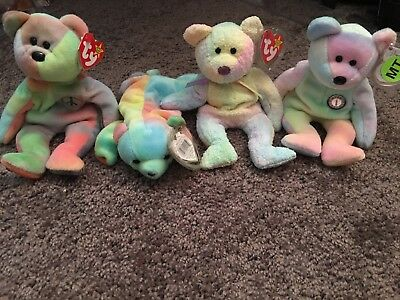 TY BEANIE BABIES lot of 4 Tie Dye Bears   Groovy   B.B. Bear   Peace ... 805abb03dd5