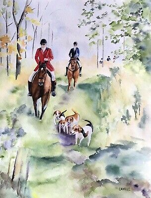 Original Fox Hunting Scene Watercolor Painting