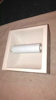 Antique Vtg Porcelain Recessed Toilet Paper Roll Holder bathroom specialty co.
