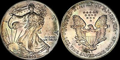 2002 Silver American Eagle $1 Dollar Bu Coin Toned In High Grade