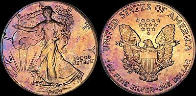 1989 Silver American Eagle $1 Dollar Bu Coin Toned In High Grade