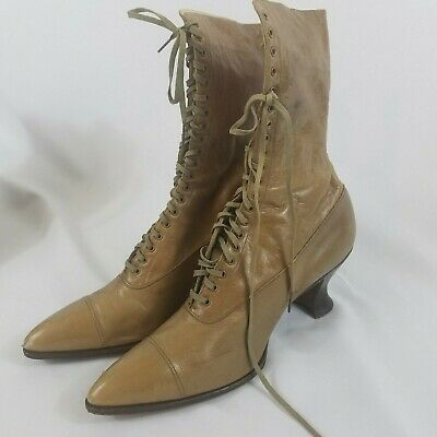 Antique Edwardian Victorian Women's Brown Leather Lace Up Boots Steampunk sz 39