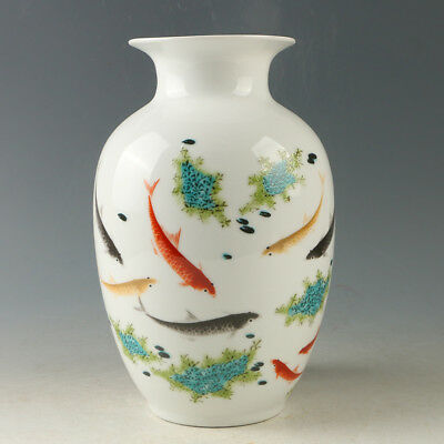 Chinese Porcelain Hand-painted Fish Vase W Qianlong Mark R1192