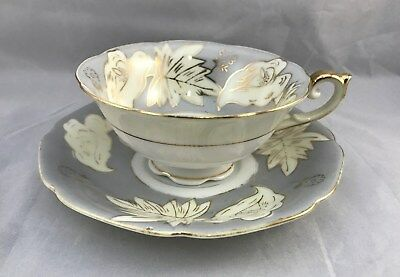 UCAGCO Cup & Saucer Made In Occupied Japan Leaves Flowers Gold Vintage