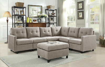 MODERN FABRIC SECTIONAL Sofa 7Pcs Couch Assembly Microsuede Reversible  Chaise US