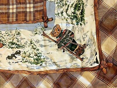 Vintage  Ralph Lauren   Teddy Bear Winter Sports Plaid Silk Scarf Collection