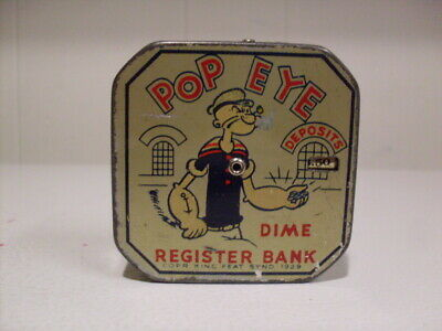 """Vintage 1956 """"POPEYE DAILY DIME REGISTER BANK"""" Tin Litho Painted Graphics"""