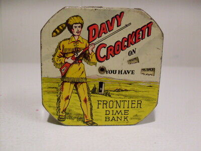 """RARE VINTAGE 1930's """"DAVY CROCKETT"""" Frontier DIME BANK  Tin Litho Painted"""
