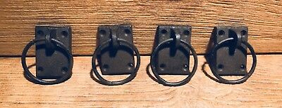 Set of Four Reproduction Ring Drawer Pull Cast Iron Rustic Brown Lodge 0184-0028