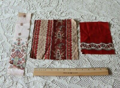 3 Antique c1860 Cotton Madder & Turkey Red Bandana Samples