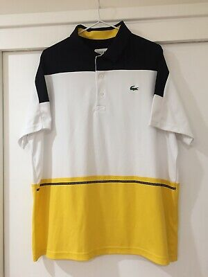 Lacoste Mens Sports Polo Shirt Multi Colour Blocks Size 2XL good Condition