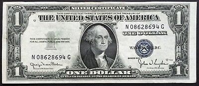 1935-D $1 One Dollar Silver Certificate Blue Seal, Aunc