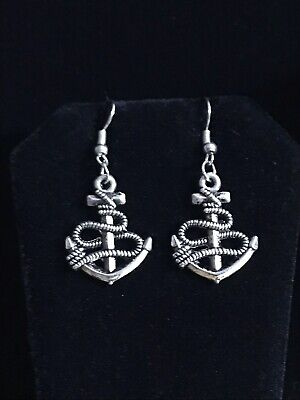 """2242cef68 1"""" Anchor Nautical Ship Antiqued Silver Plated Charm Dangle Drop Earrings  New"""