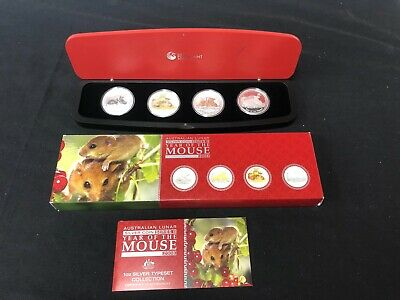 Australia 2008 Year of the Mouse coin set with (4) silver 1oz. coins