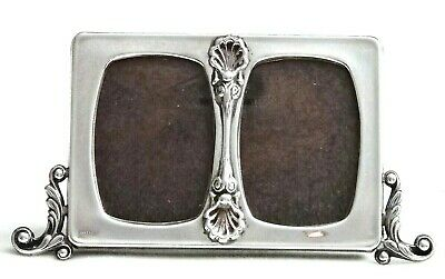 "Vntg. Sterling Silver Double Photo Frame 6""x3.25"" Shells & Leafy Scrolls, Spain"