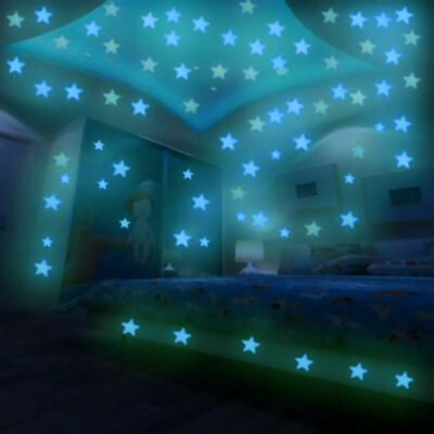 Fashion 3D Stars 100PCS Glow In The Dark Luminous Fluorescent Wall Stickers