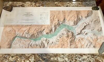Rare 1958 2 Sided Large 42 Inch Topographic Topo Map Of Yosemite Valley Rolled