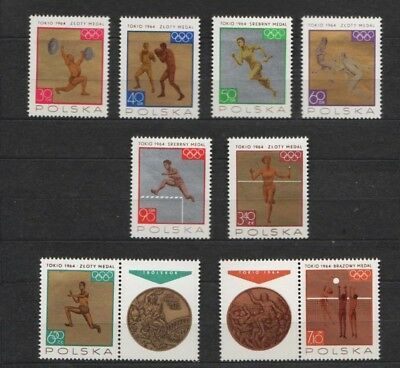 Poland 1965 : Olympic medals from the Tokyo games // set of 8 stamps