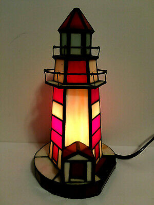 Vintage Stained Glass Lighthouse Lamp Maritime Boat Ship Coast Ocean Sea