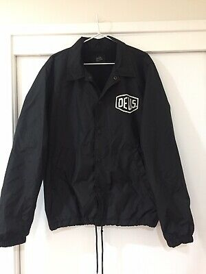 Deus Ex Machina Mens Black Graphic Print Black Windbreaker Jacket Size L EUC