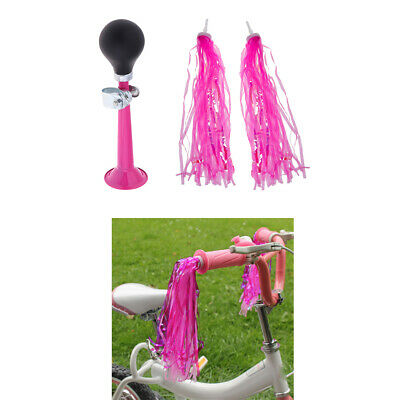 Bike Retro Metal Air Horn Hooter Bell with Bicycle Scooter Streamers Tassels