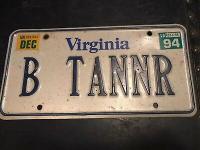 EXPIRED VIRGINIA LICENSE PLATE with 1994 STICKER (B TANNR)