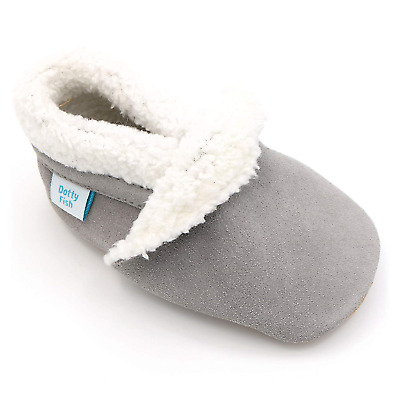 Dotty Fish Suede Baby Slippers. Fleece Lined. 0-6 Months to 4-5 Years. Navy,...