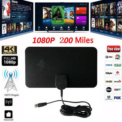 100 Mile Range Indoor Antenna TV Digital HD Skywire HDTV 1080p Sky Link Cable