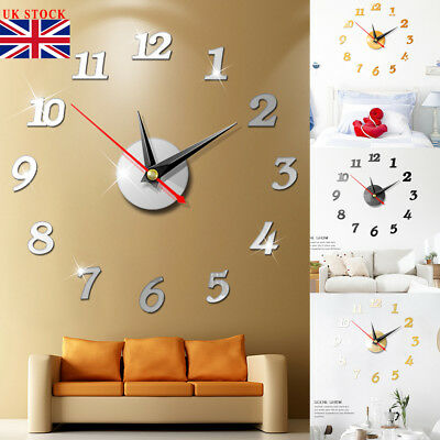 Large Number Wall Clock 3D Mirror Sticker Modern Home Office Decor Art Decal Hot