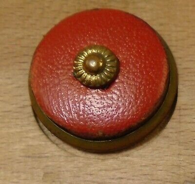 """NICE 3/4"""" Leather with Escutcheon Brass Antique Button 759:13"""
