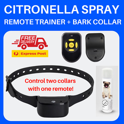T400 CITRONELLA AUTOMATIC ANTI BARK COLLAR RECHARGEABLE with REMOTE 80M 2 Dogs