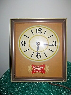 Vintage Miller High Life Wall Clock Circa 1960's (12 high X 10 in wide)