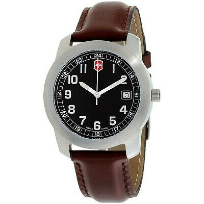 Victorinox Swiss Army Men's Quartz Stainless Steel and Leather Casual Watch, ...