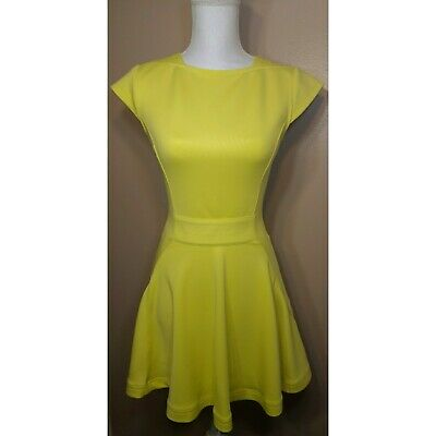 TED BAKER LONDON Nistee Yellow Skater Dress Size 1 Or 4 (US) Short ... 7814087e3