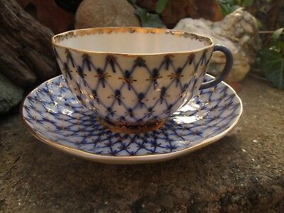 Russian Imperial Lomonosov China Cup & Saucer Cobalt Blue On White Gold Ussr