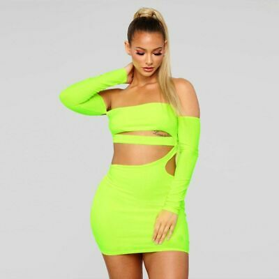 Women's Hollow Out Long Sleeves Slash Elegant Strapless Bodycon Dress Neon Green